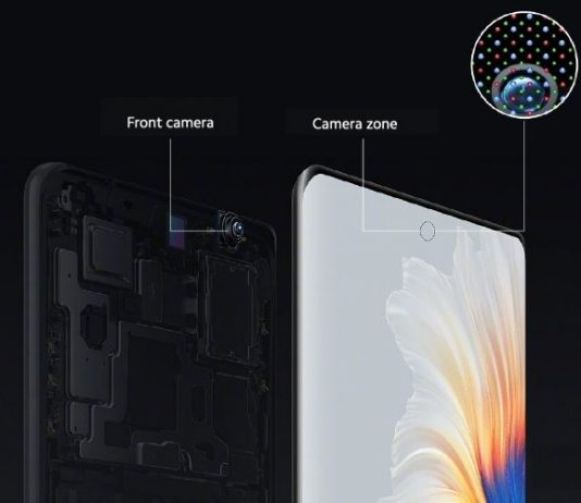 The mechanism of the under display camera of Xiaomi Mi Mix 4 is as follows